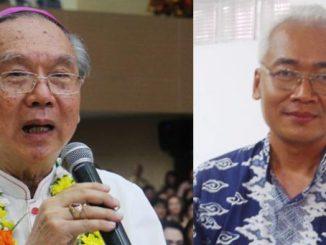 Uskup Manado Mgr Josef Suwatan MSC dan Ketua Komkep KWI Mgr. Pius Riana Prabdi. (HIDUP/Lexie Kalesaran)