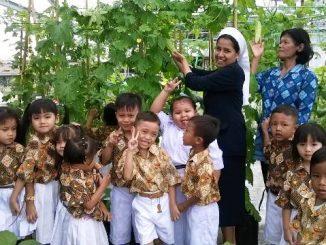 Anak-anak TK Xaverius Lubuklinggau selalu bersemangat diajak ke kebun yang terletak di atas atap