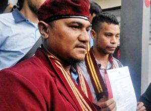 Ketua Presidium PP PMKRI Angelo Wake Kako usai melaporkan imam besar FPI Rizieq Shihab ke Polda Metro Jaya dengan tuduhan penistaan agama, 26 Desember 2016