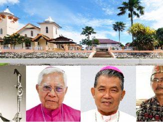 Atas: Gereja Katedral Kristus Raja Sintang. Bawah dari kiri ke kanan: Mgr Lambertus van Kessel SMM, Mgr Isak Doera, Mgr Agustinus Agus, dan Mgr Samuel Oton Sidin OFMCap.