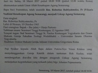 SUrat pengumuman Uskup Baru Semarang